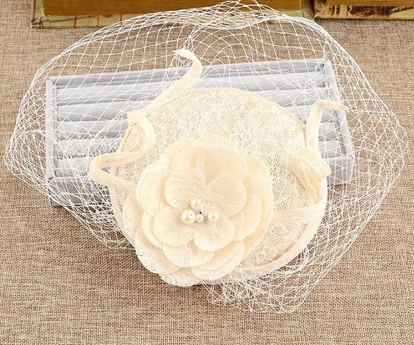 Nova Noiva Branco Chapéus de Linho artesanal Floral Mulheres fascinator Chapéus De Casamento e Hairbands Branco Net Bridal Acessórios Para o Cabelo