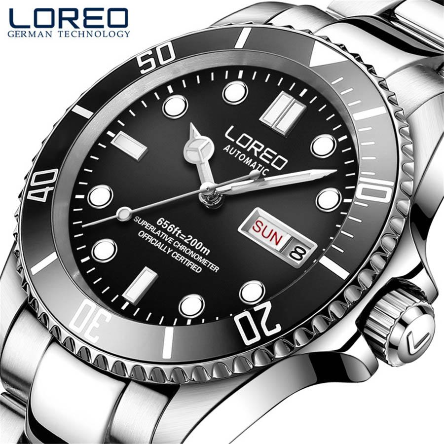 LOREO 200M Diving Series Mechanical Watch Men 316L Stainless Steel Luminous Week Date Sapphire Waterproof Automatic Watches Mens