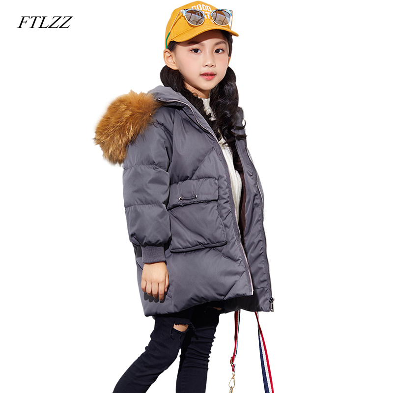 FTLZZ White Duck Down Girls Coats Real Fur Collar Autumn Winter Jacket Kids Warm Hooded Children Outerwear Boys Girls Clothes 2018 girls clothing warm down jacket for girl clothes 2018 winter thicken parka real fur hooded children outerwear snow coats