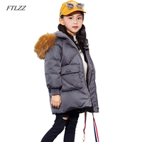 FTLZZ White Duck Down Girls Coats Real Fur Collar Autumn Winter Jacket Kids Warm Hooded Children Outerwear Boys Girls Clothes