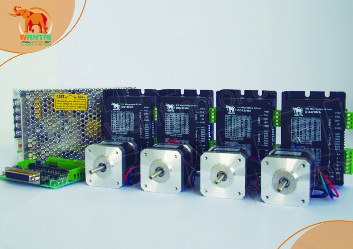 4 Axis CNC router Wantai Nema 17 Stepper Motor 4000g.cm & Digital Driver 36VDC/1.7A/ 128. 3D Reprap Printer Robot Machines wit color printer motor driver for 3312 3308 machines