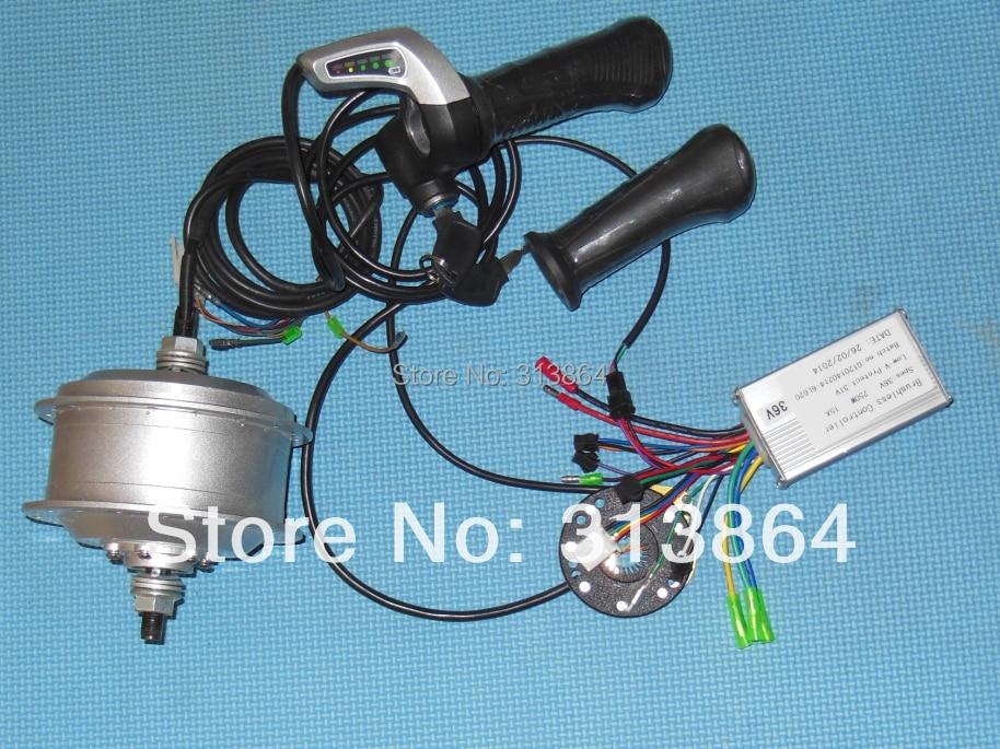 Kit de Conversion de vélo électrique inclus moteur de roue arrière 36 V 250 W, accélérateur WuXing, PAS, contrôleur Li-ion bldc