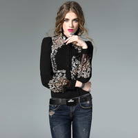 European Silk Embroidery Blouse Long Sleeve Stand Collar Ruffles High Quality Fashion Boutique Women Single Breasted