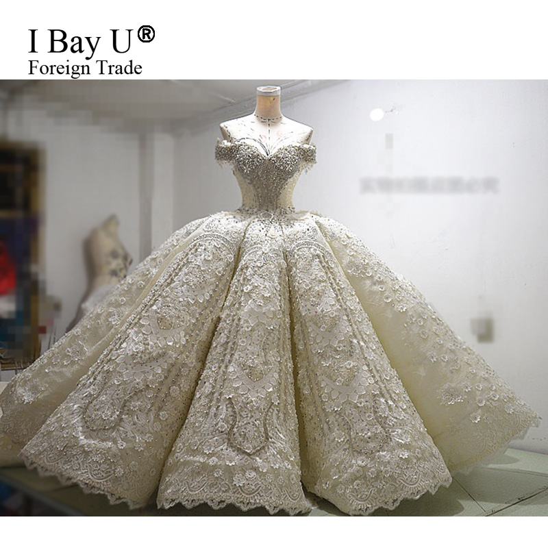 ffd23ef826e 100% Real Photos Robe De Mariage Luxury Bride Dresses 2017 Bridal Gowns  Royal Train Lace