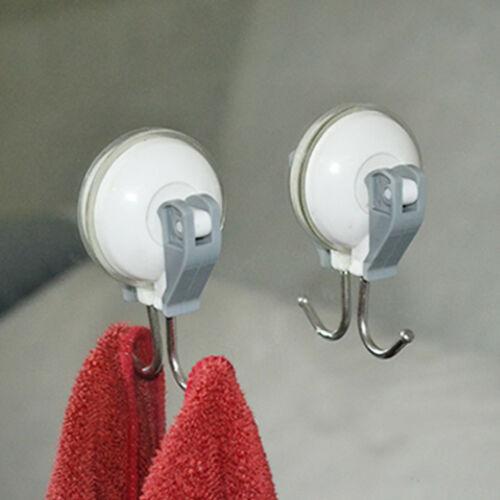 2X Suction Cups Window Glass Hooks Bathroom Kitchen Strong Towel Hanger Suckers