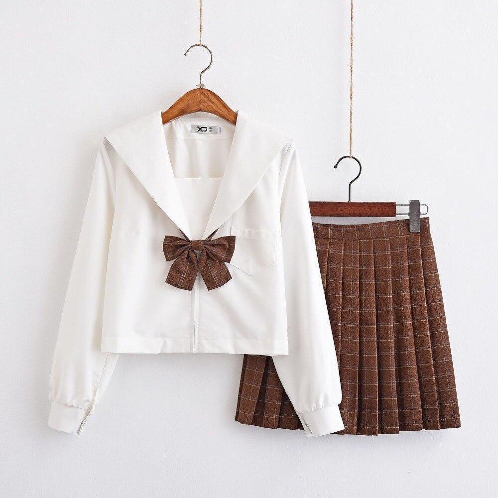 Robe de marin fille uniforme d'école japonaise à manches longues jupe à carreaux rouge/kaki Uniformes Japonais Costumes coréens pour fille