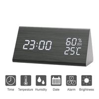 Digital Alarm Clock LED Display Clock Sound Control Batteries USB Charging Alarm Clock with Temperature & Humidity Home Decor
