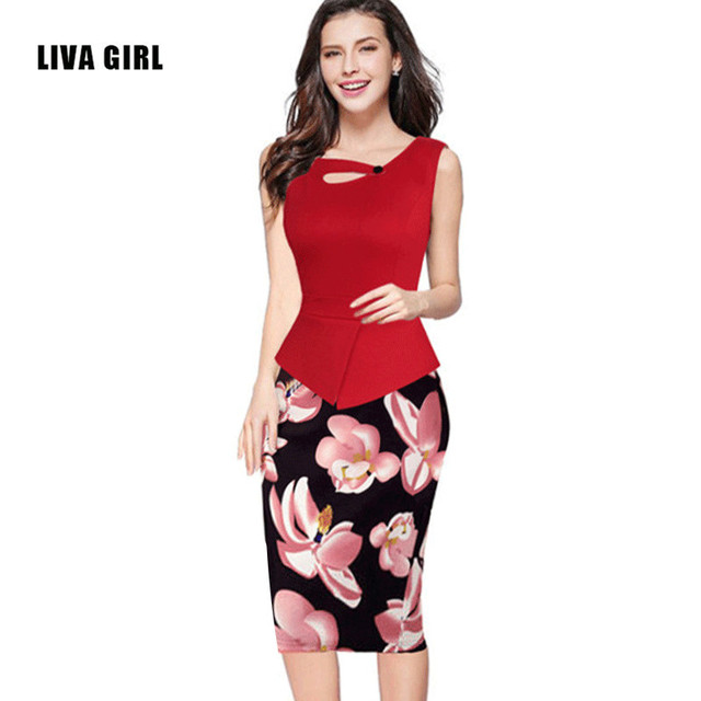 ea6c14d6c24db LIVA GIRL 2016 Summer Women Vintage Elegant Casual Floral Print Button  Patchwork Work Office Pencil Sheath Party Bodycon Dress-in Dresses from  Women's ...