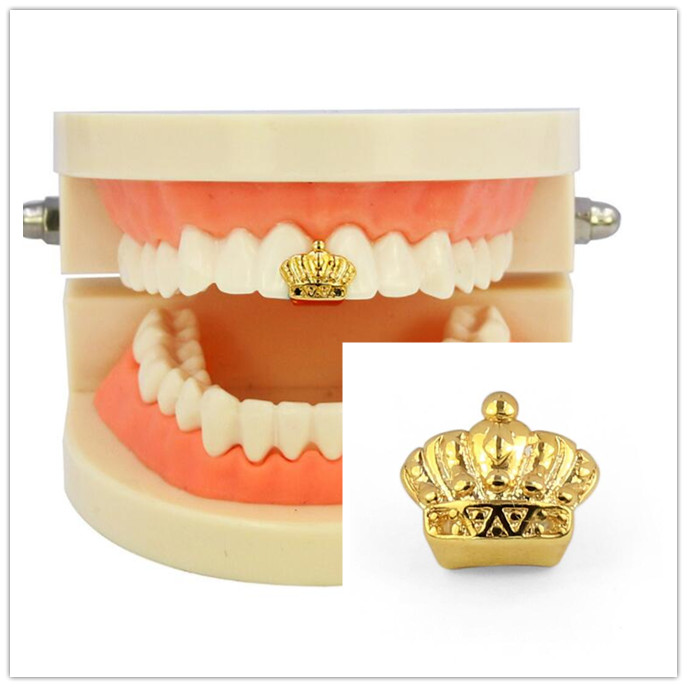 Hip Hop Gold Crown Rhinestone Teeth Grills Top Grills Dental Mouth Punk Fake Tooth Caps Cosplay Party Tooth Rock Rapper Body Jew