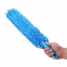 Cepillos de microfibra para lavado de ruedas de coche, 1 Uds., Flexible, Extra largo, suave, chenilla, azul