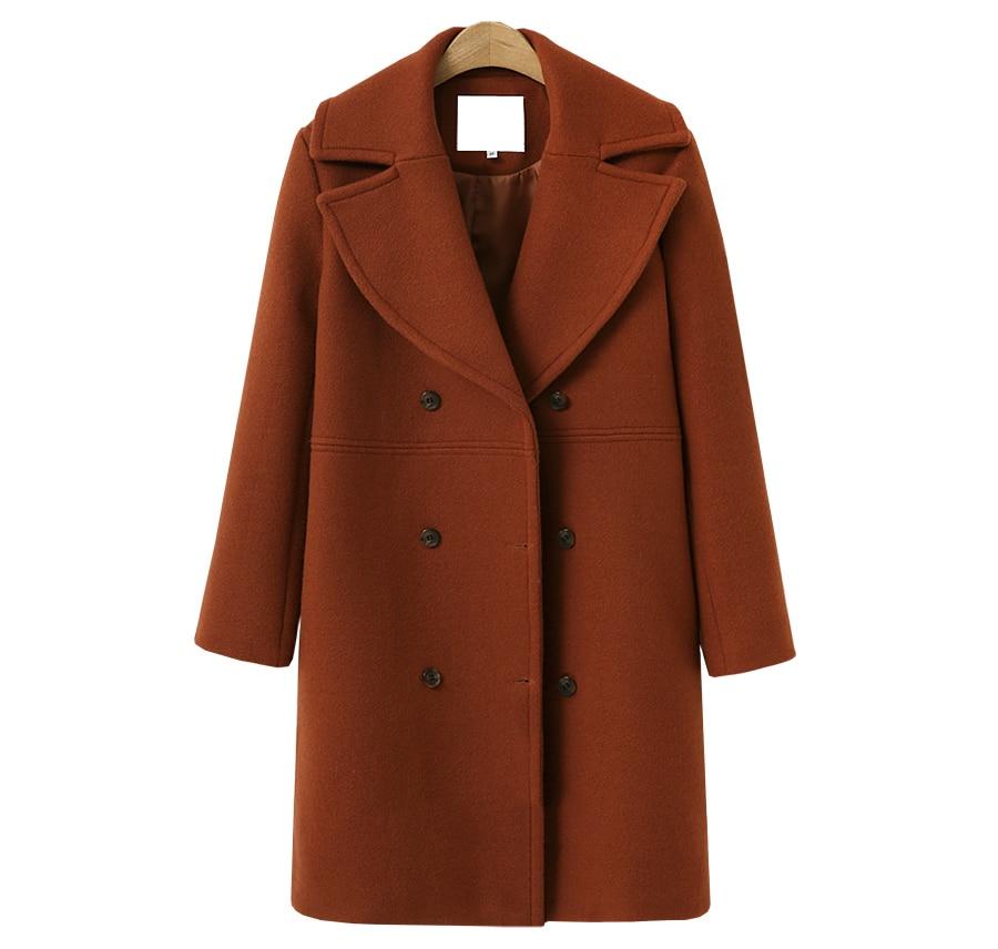 2018 Spring Autumn Women's Wool Coat New Fashion Long Woolen Coat Single Breasted Slim Type Female Autumn Winter Wool Coat