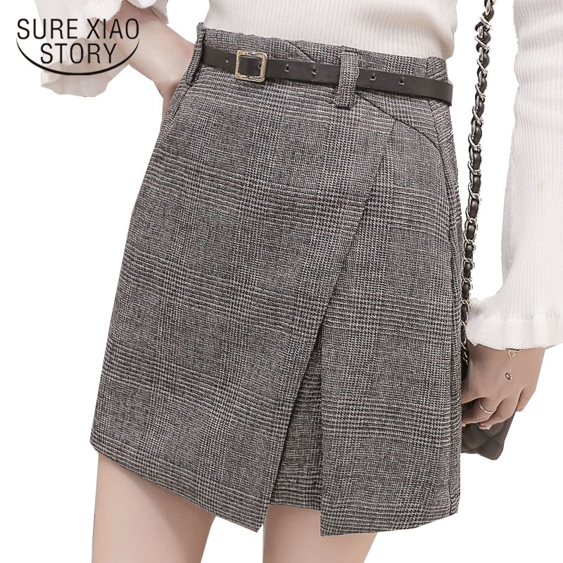 2018 autumn vintage sweet package buttocks irregularly women plaid skirt retro mini high waist thin a
