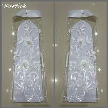 Новое поступление Свадебные Перчатки Элегантные свадебные аксессуары белый/цвета слоновой кости модные свадебные перчатки с аппликация цветок для свадебное платье