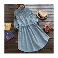 vintage Flower embroidery Drawstring peter pan collar long sleeve  dress mori girl 2016 Summer new FD016 elegant