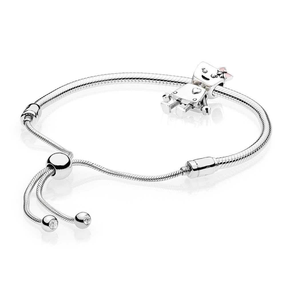 New 100% 925 Sterling Silver Bella Bot Bracelet Set Fit DIY Original Charm Bracelets Jewelry A Set of Prices Bangle for Women a suit of cute rhinestone elephants alloy bracelets for women page 4