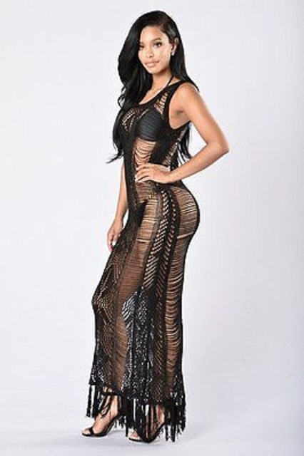 Sexy Women Beach Dress Swimwear Solid Vintage Lace Chiffon Crochet Bikini Cover Up Hollow Out Fringes Tassels Cover-ups