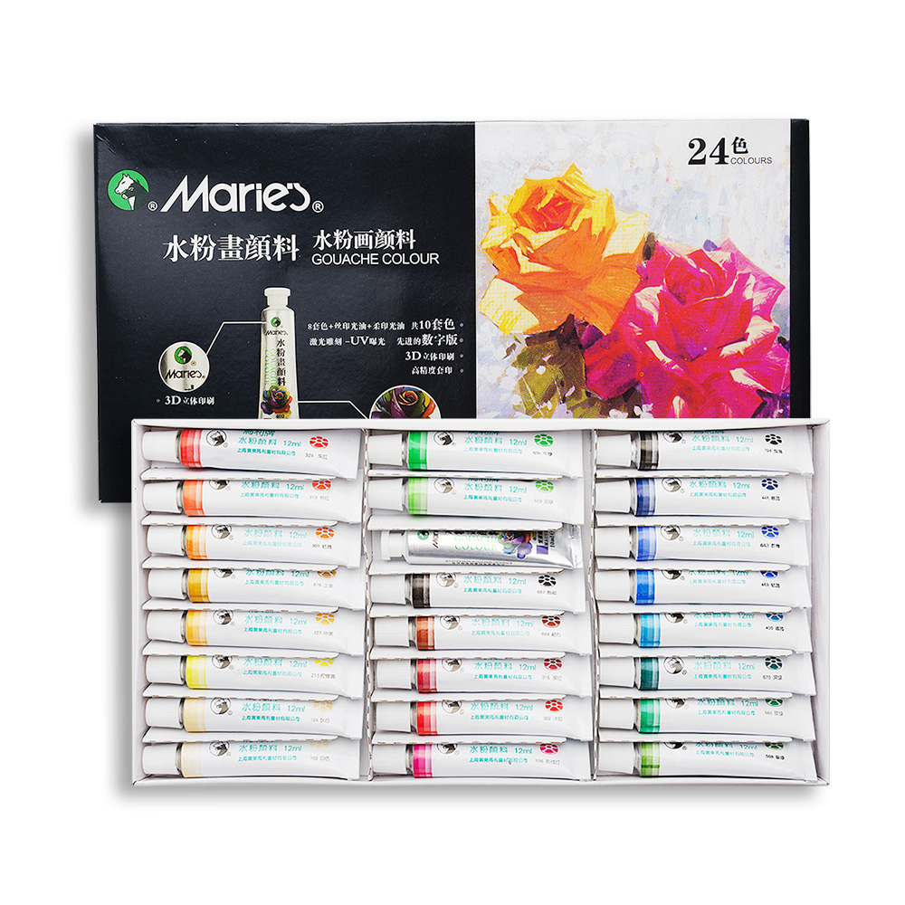 Mare'S 24 Colors Gouache Set Finest Pigment 12ML/tube Professional Art Paints Painting Tool british import 24 colors gouache paint painter special 24 colors water gouache pigment set advertising pigment