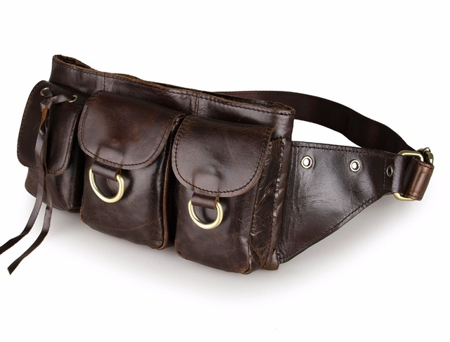 Fashion genuine leather waist Pack men leather waist Bag for men money belt bag Bum fanny pack Pouch Bag small Shoulder Bag