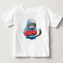 Children Summer Super Cool Boxing Cat Attack Funny T shirt Baby Boys Girls Casual Tops T-shirt Kids Clothes