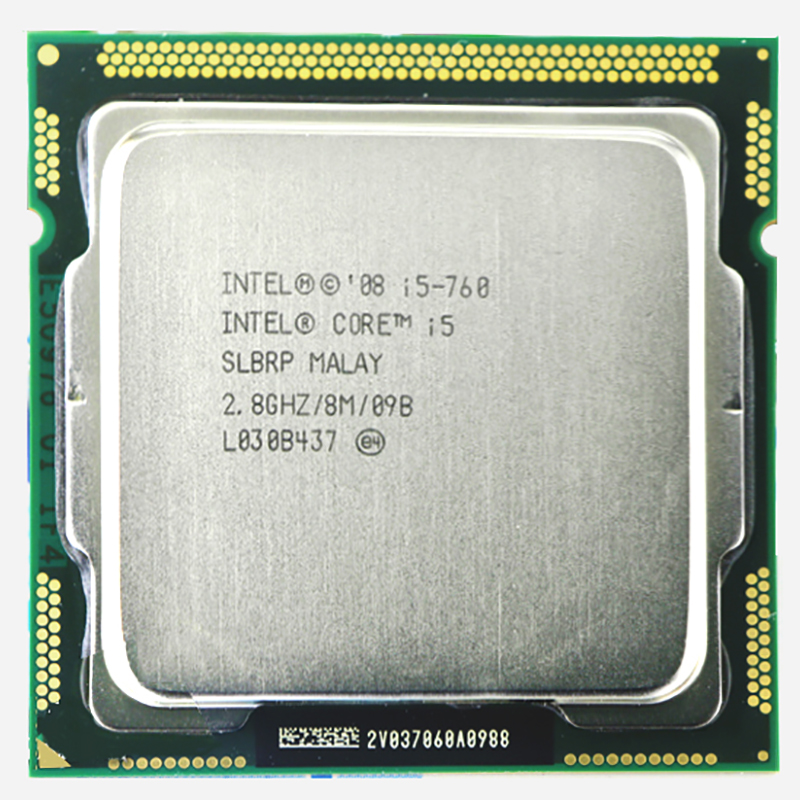 Original INTEL-kärna 2 i5-760 CPU i5 760-processor (2,8 GHz / 8 MB Cache / Socket LGA1156 / 45nm) Desktop i5 760 CPU-garanti 1 år