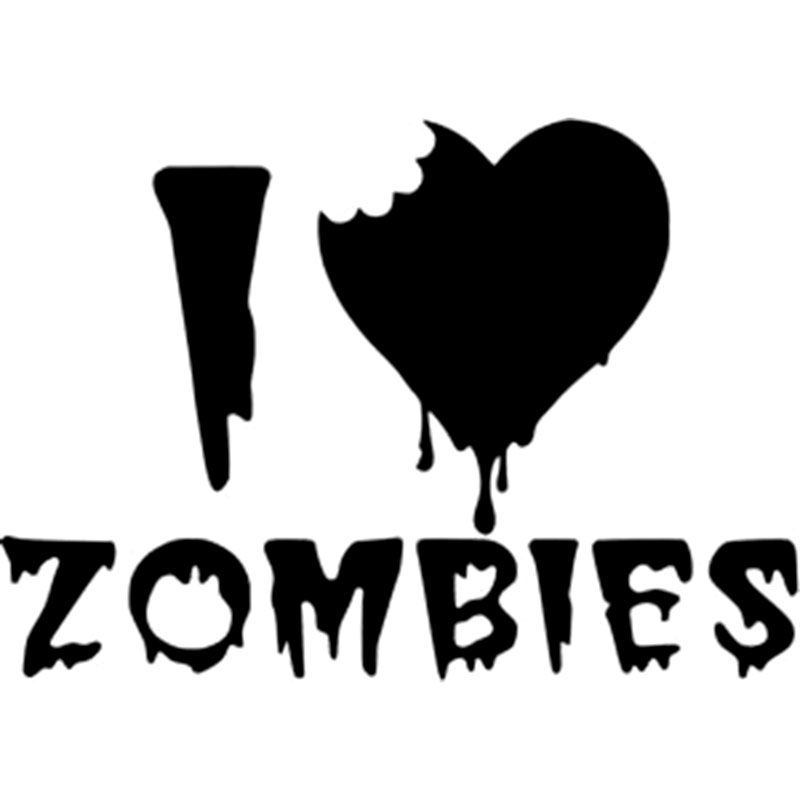 12 7cm8 9cm i love zombies car sticker and vinyl decals reflective car styling decals black sliver c8 0884 in car stickers from automobiles motorcycles