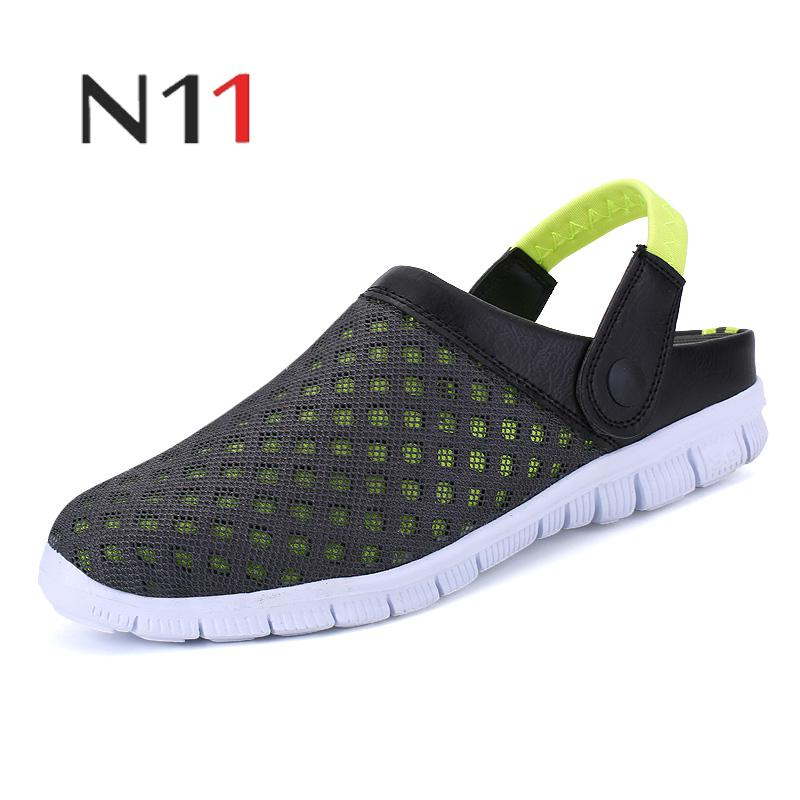 Mens Summer Shoes Sandals 2017 New Breathable Men Slippers Mesh Lighted Casual Shoes Slip On Shoes Beach Flip Flops Buy Now Men's Casual Shoes
