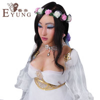 EYUNG silicone Selina Algel face female mask with artificial chest breast form drag queen crossdresser Halloween masquerade mask