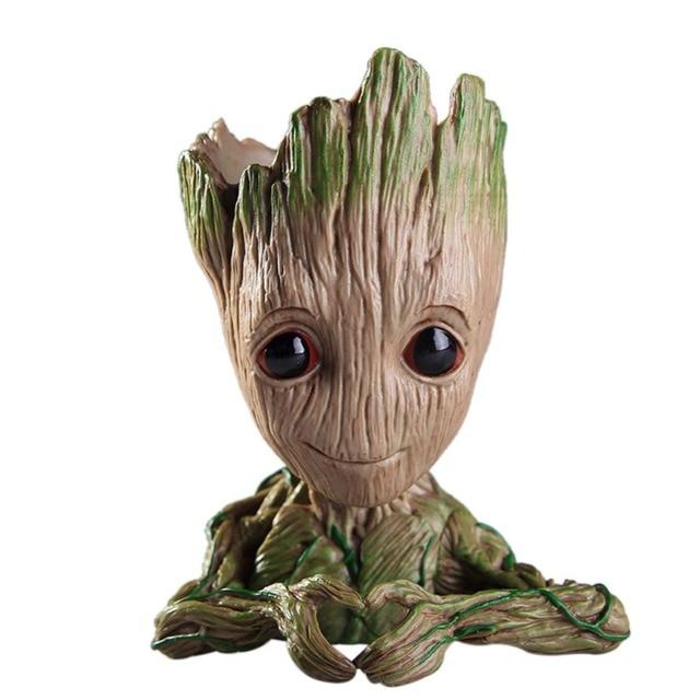 Plantador Da Flor Vaso de Decoração Da Casa do bebê Bonito Groot Jar Guarda Galáxia Homem Modelo de Ação Brinquedo Brinquedo Caráter Bonito Caneta Titular