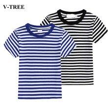 Летняя детская футболка; темно-синие футболки для девочек; Детские топы с короткими рукавами; футболки для мальчиков; полосатая верхняя одежда для подростков; Детские рубашки