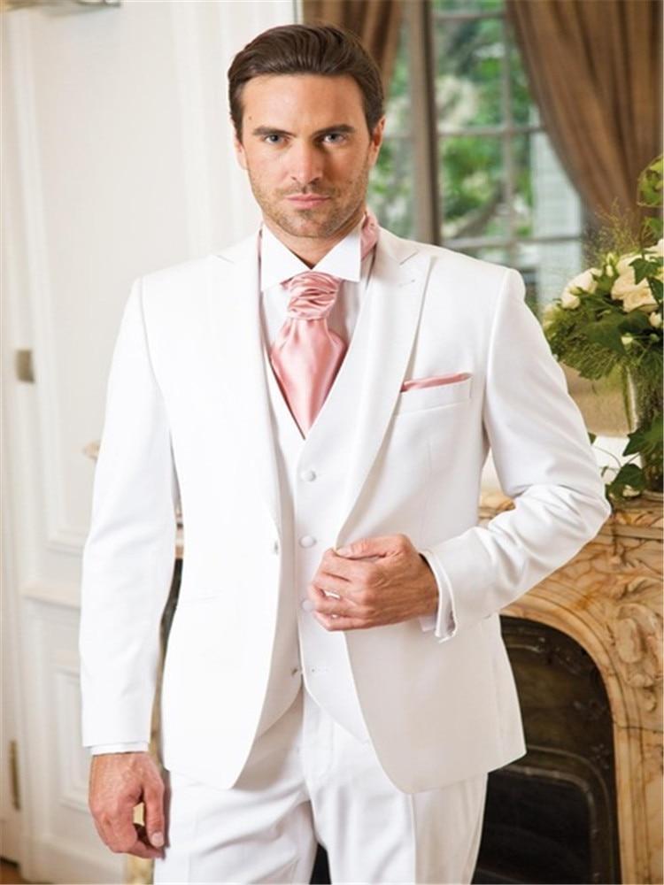 2019 New Arrival White Wedding Suits For Men Formal Men Suit Peaked Lapel Grooms Tuxedos Groomsmen Suit (Jacket+Pants+Vest+Tie)