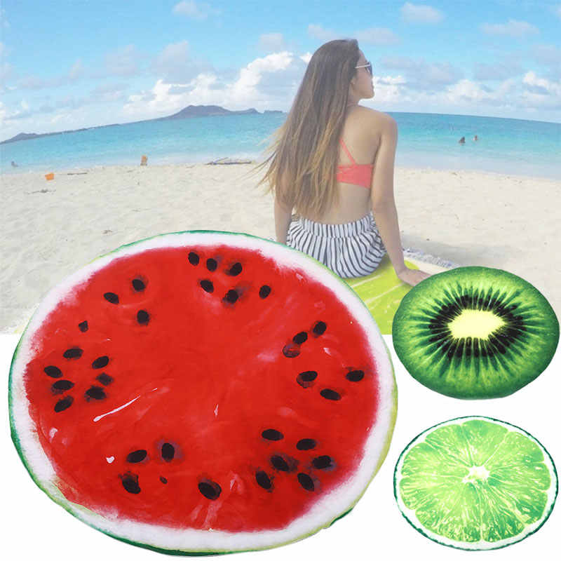 Boho Beach Shower Towel Microfiber Outdoor Picnic Blanket Mat Tapestry  150cm Watermelon Lemon Kiwi Printed Cotton Bath Mat