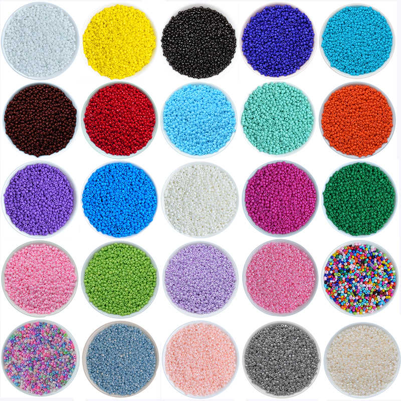 DIY Jewelry Making 2MM 1000pcs/bag Crystal Czech Seed Beads Silver Lined Round Glass Loose Bead 32 Colors Fit Bracelet Necklace