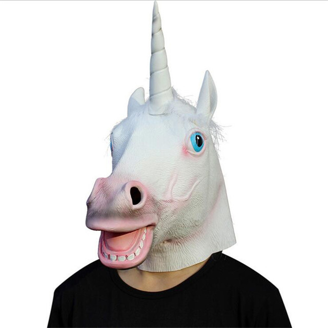 c14fb4f1dd02 Halloween Costume Party Prop Novelty Latex Rubber Creepy Mask Unicorn Horse  Head Mask