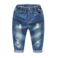 New Arrival dzieciaka jeans długie spodnie z złamane otwory wiosna koreański styl boy dżinsy zgrywanie jeans spodnie przypadkowy jean niemowląt chłopcy