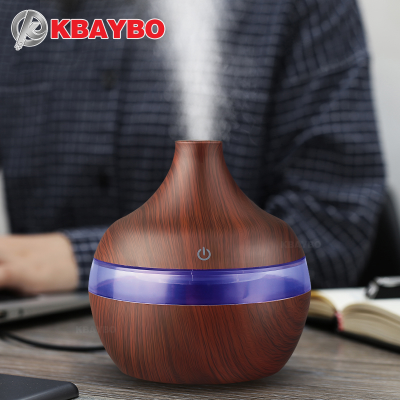 USB 300ml Aroma air Humidifier Aromatherapy Wood Grain 7 Color LED Lights Electric Aromatherapy Essential Oil Aroma Diffuser