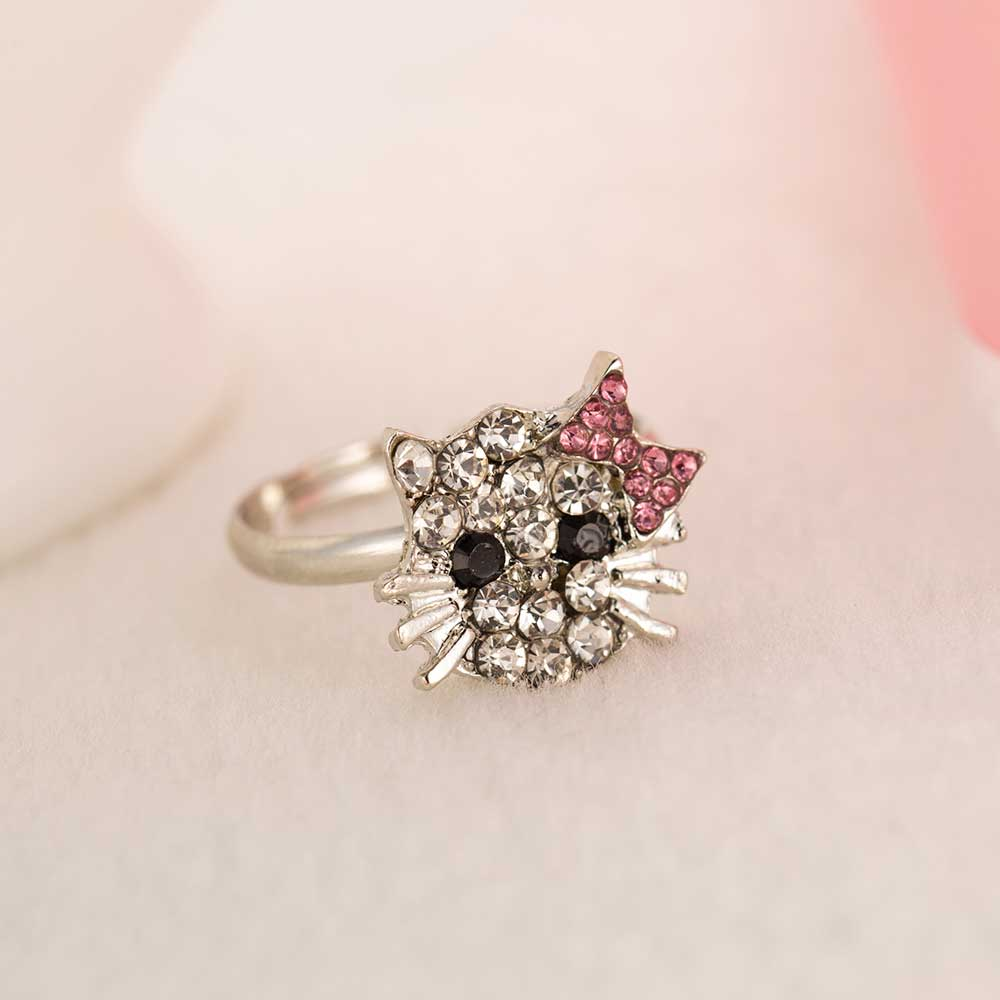 Ailend New Crystal Stud Earrings Rhinestone Hello Kitty Earrings Bowknot Jewelry For Girls Ring,earring And Necklace Set #5