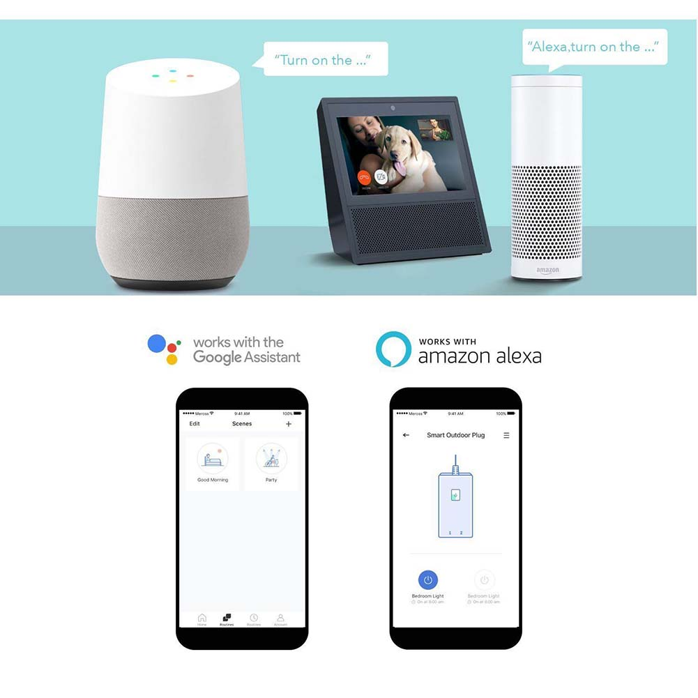 Outdoor Wireless Smart Plug Wi-Fi Plug with 2 Sockets Compatible with Alexa Google Home Assistant @8 WWO66