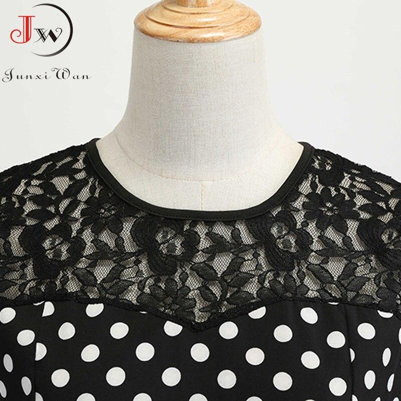 Women Summer Lace Vintage Dress Black Polka Dot Sexy O-neck Beach Dresses Fashion Casual Big Swing Party Robe Plus Size 4