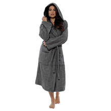 Women s Hooded Thick Robes Soft Coral Fleece Women Winter Plush Lengthened  Shawl Bathrobe Home Clothes Long 8fc221733