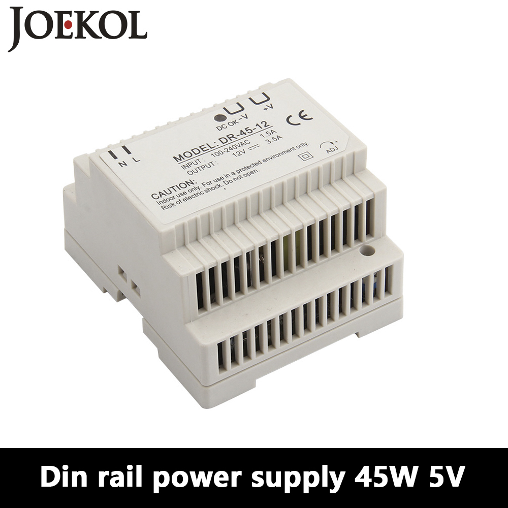 DR-45 Din Rail Power Supply 45W 5V 5A,Switching Power Supply AC 110v/220v Transformer To DC 5v,watt power supply ac dc dr 60 5v 60w 5vdc switching power supply din rail for led light free shipping
