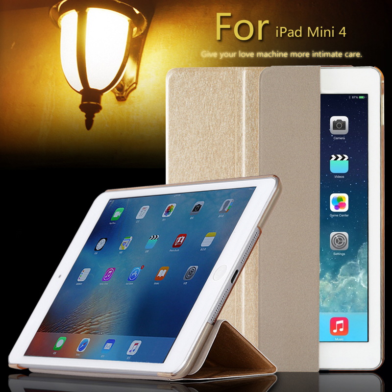 Deluxe Stand Leather Case For iPad mini 4 Retina Silk Skin Slim Clear Transparent Back Cover for iPad Mini4 Full Protect