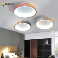 TRAZOS 220V LED Ceiling Lights With Metal Lampshade For Living Room Modern Ceiling Lamp Wooden Lustres Rooms Hanging Lamps