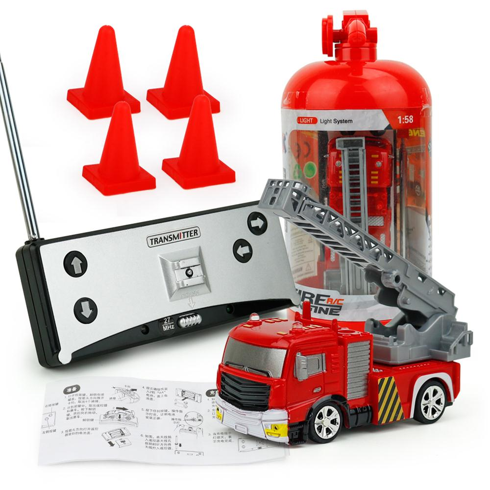 1:58 RC Fire Truck Fireman Toy Car Model With Music Lights Fire Truck Life-saving Remote Control Toys For Children Kids Gifts remote control 1 32 detachable rc trailer truck toy with light and sounds car