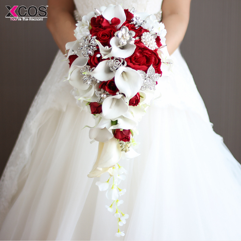 2019 Waterfall Red Wedding Flowers Bridal Bouquets Artificial Pearls Crystal Blue White Wedding Bouquets Bouquet De Mariage Rose