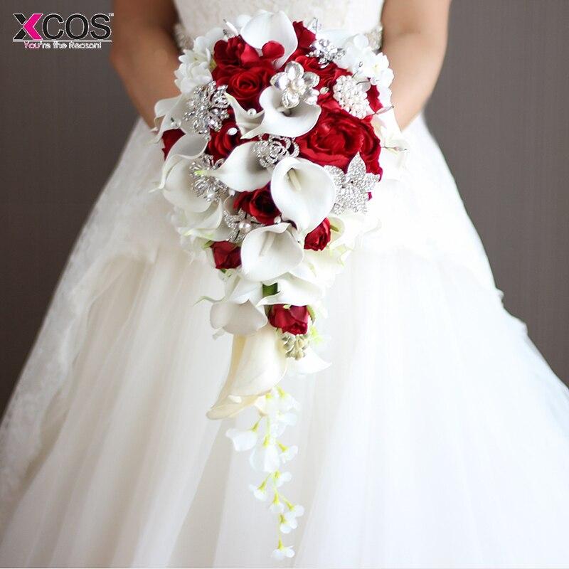 2019 cascade fleurs De Mariage rouges Bouquets De mariée perles artificielles cristal bleu blanc Bouquets De Mariage Bouquet De Mariage Rose