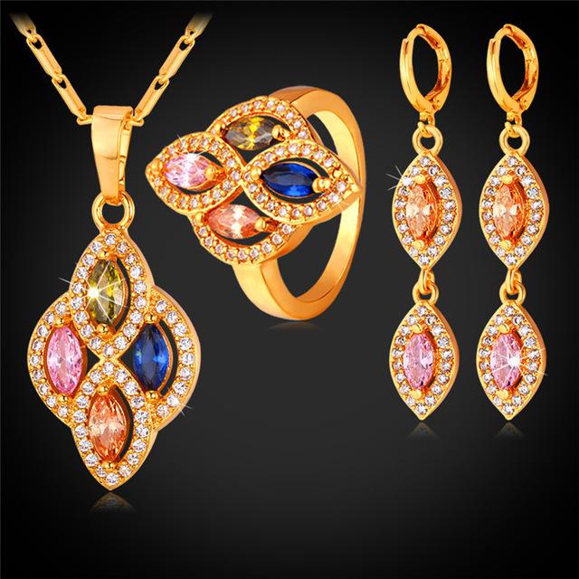 Estilo Conjunto Joyería de Las Mujeres Colgante Collar Pendientes Y el Anillo de Oro Amarillo Plateado Cubic Zirconia Joyería Nupcial PER1133