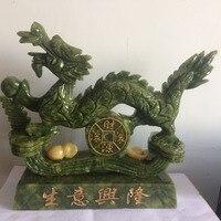 China southern Tajwan jade dragon feng shui Wealth statua carving dobrze prosperujący biznes Naturalne rzemiosło prezenty home decoration