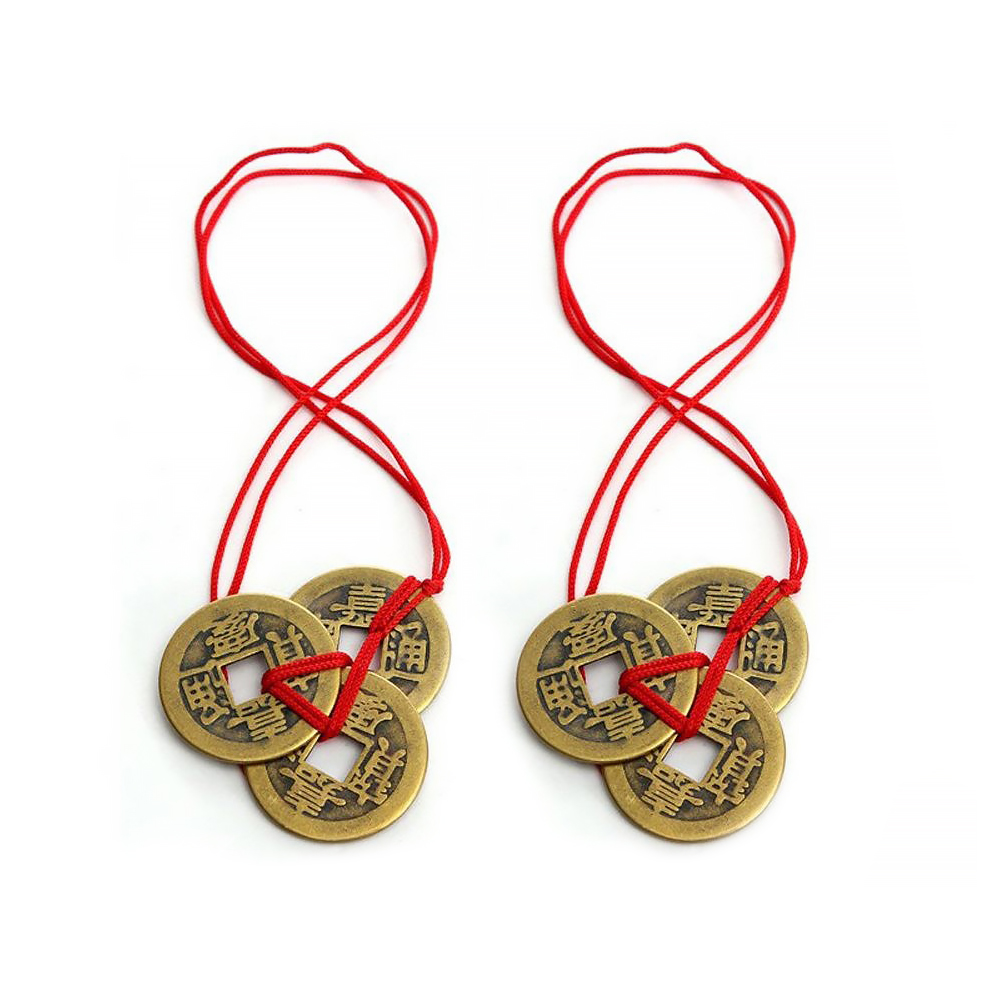 Fortune-Coins Good-Luck Wealth Red-Strings Feng Chinese With And Colorful 2pcs Meaningful