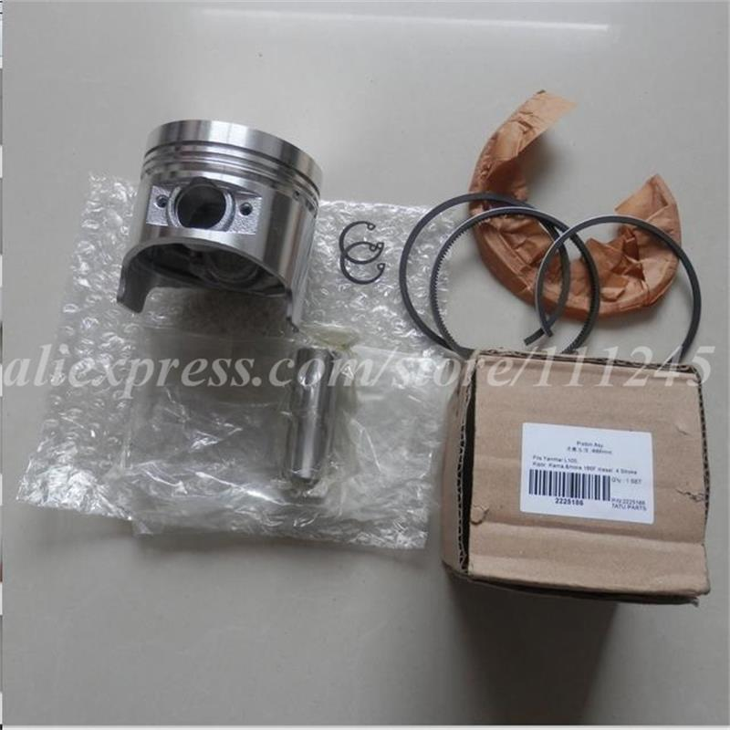 PISTON KIT FOR YANMAR L100 406CC CYLINDER  DIESEL  5KW KOLBEN ASSEMBLY W/ RING PIN CLIP AY TILLER PARTS 38mm cylinder barrel piston kit