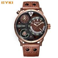 EYKI Super Big Multilayer Stereoscopic Dial Two Time Zone Display Fashion Sport Watch Men Waterproof Luminous